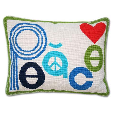 Mod Pillows by Modern Needlepoint Accent Pillows Mod Peace Needlepoint