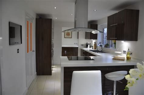 High Quality Laminate Kitchen Worktops by Noce Glacier Kitchen With 60mm Duropal White Laminate