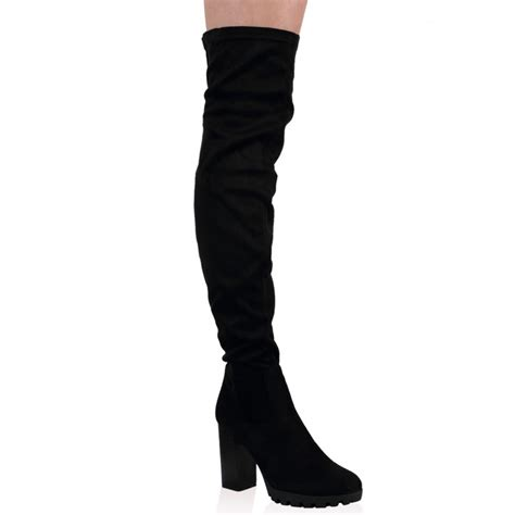 black thigh high suede boots yu boots