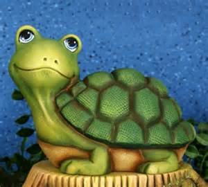 Painting Faux Rocks - paint your own cute ceramic water garden pond turtle figurine