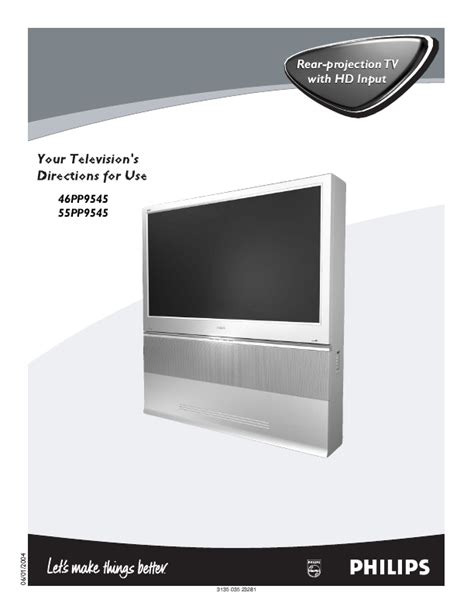 Philips Projection L Type 5761 by Philips Flat Panel Television 55pp9545 User S Guide