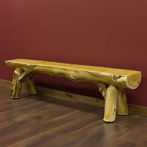 cedar log bench wood furniture pinterest cedar lake half log bench jackie check out their site home decor ideas pinterest