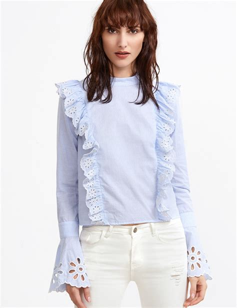43509 Blue Striped Embriodery Blouse blue and white striped button back eyelet embroidered ruffle blouse shein sheinside