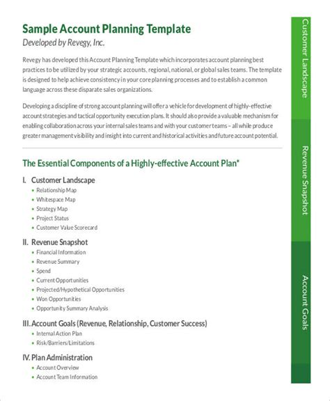 strategic account planning template 9 strategic account plan templates free sle exle