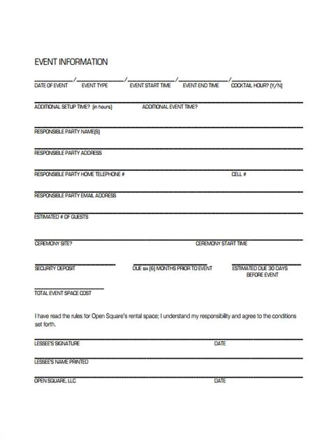 event rental agreement template 8 event agreement forms free sle exle format
