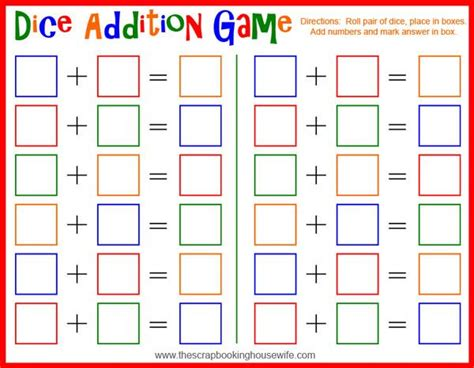 printable children s lotto games dice addition math game for kids free printable free