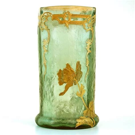 Antique Glass Vase Identification by Antique Mont Joye Cameo And Gilt Glass Vase For Sale