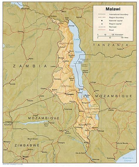 Malawi Africa Map malawi flora karte