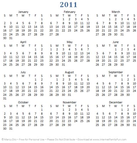 printable yearly calendars 2011 image gallery 2011 calendar printable