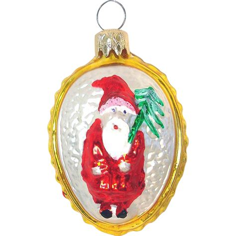 oval embossed father christmas glass ornament west germany