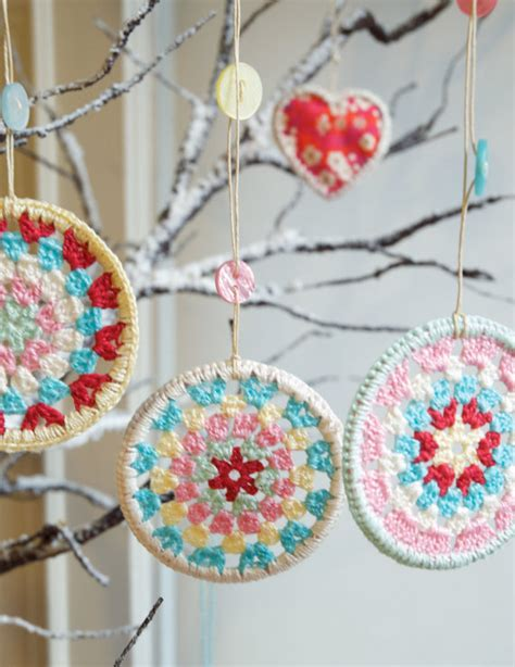 three crocheted granny circle christmas decorations