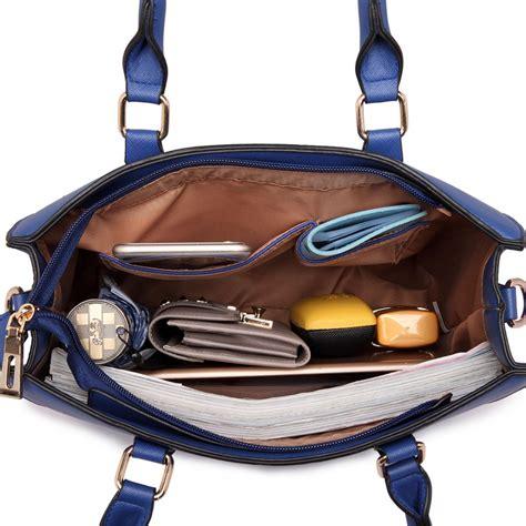 Shoulder Bag Pocket Navy lt1650 miss lulu textured leather look square pocket
