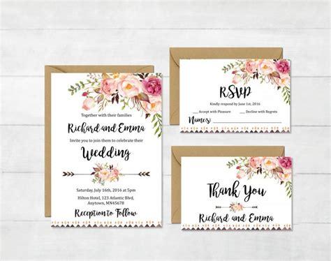 printable wedding invitation suites floral boho tribal wedding invitation suite printable