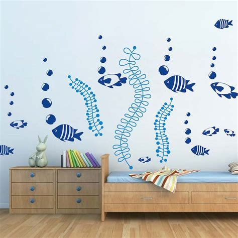 wall sticker diy fish decals for walls coral reef fish wall decals