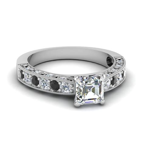 sided vintage asscher engagement ring  black diamond