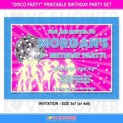 disco party birthday invitation   hot pink purple blue printable digital print