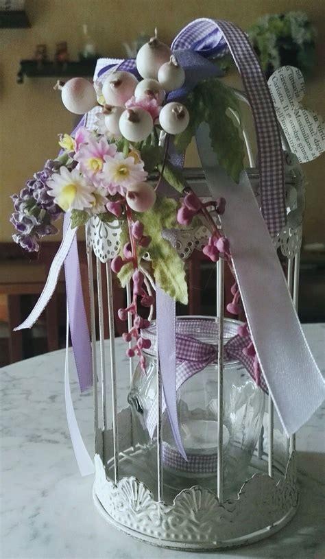 fiori con nastri gabbietta portacandela decorata con fiori e nastri by