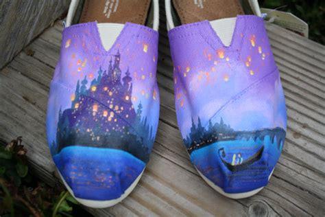 acrylic paint on canvas shoe fairytale painted toms shoes