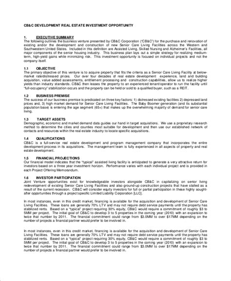 real estate development agreement template sle real estate business plan 8 exles in word pdf