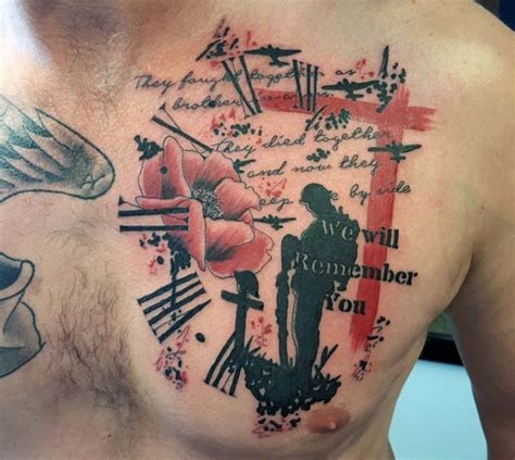 remembrance day tattoo designs style colored memorial with soldier grave