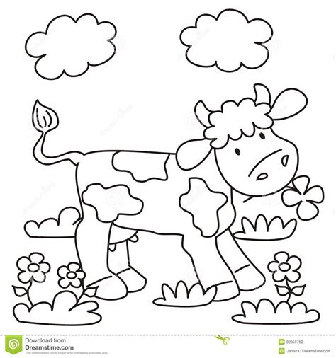 kids color cow coloring stock vector illustration of flower funny