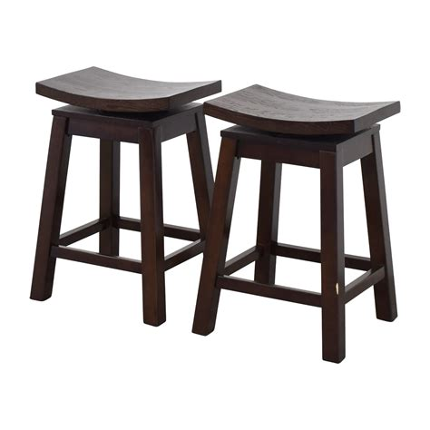 Asian Style Counter Stools 76 asian style wood saddle counter height swivel