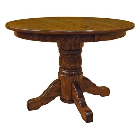 amish 42 quot pedestal dining table w leaf drcvtsp42r120
