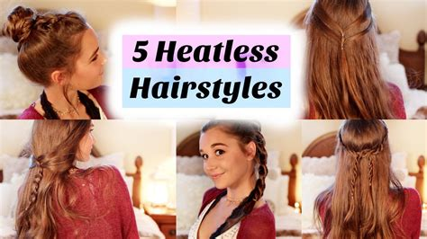 back to school heatless hairstyles 5 back to school heatless hairstyles youtube