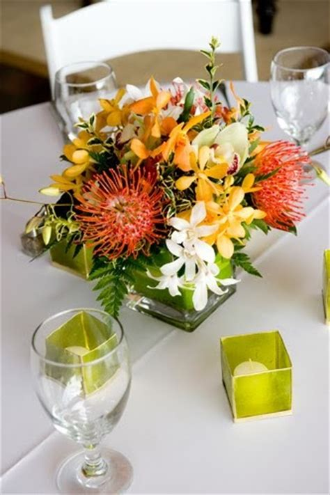 island sunset weddings tropical centerpieces maui wedding