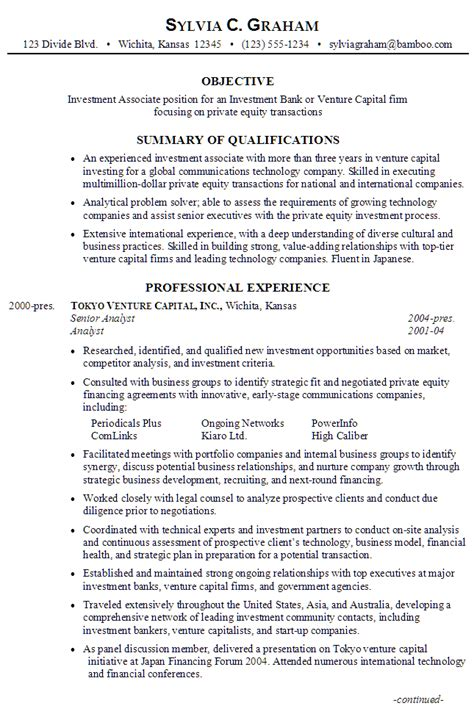 Venture Capital Analyst Sle Resume by Resume Investment Associate Investment Bank Venture Capital Firm