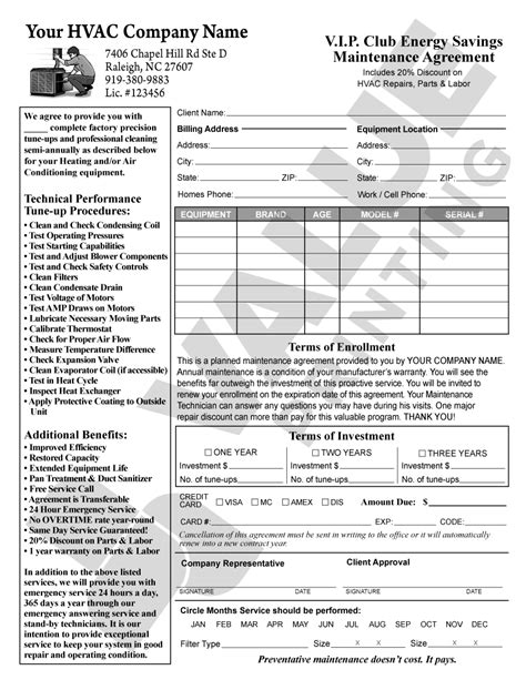 hvac service contract template free printable documents