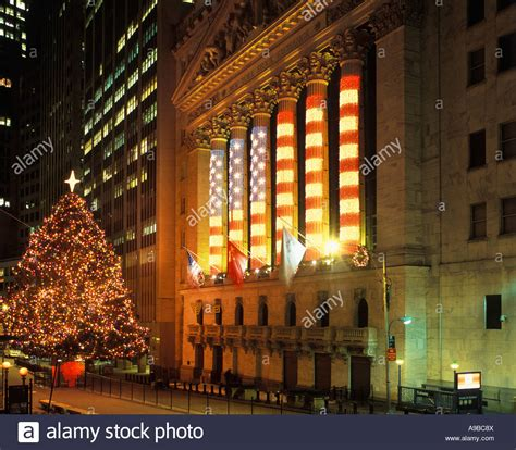 financial district christmas tree lights stock exchange building financial district stock photo royalty free image