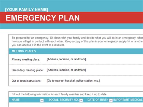 school emergency preparedness plan template family emergency plan office templates
