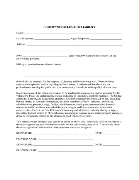 liability release form homeowner liability waiver sle form free