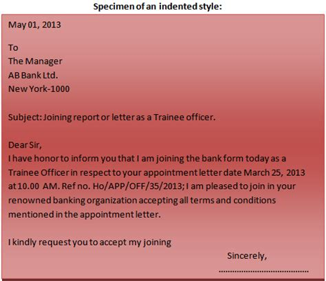 Indented Block Format Business Letter format of a business letter