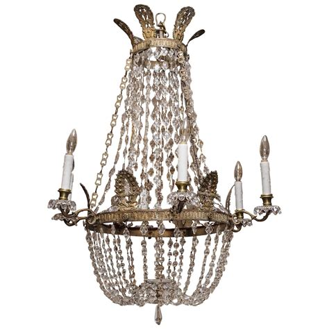 19th Century French Empire Bronze And Crystal Basket Basket Chandelier