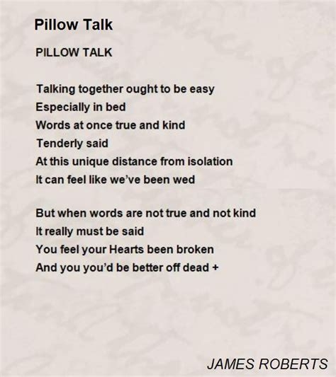 Pillow Talk Means by Pillow Talk Poem By Poem