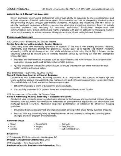 Resume Sles For Analyst Sales Analyst Resume Sle