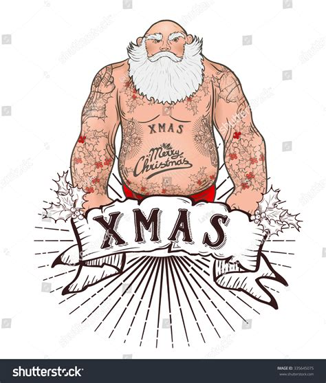 tattooed santa illustration of mighty santa claus chest