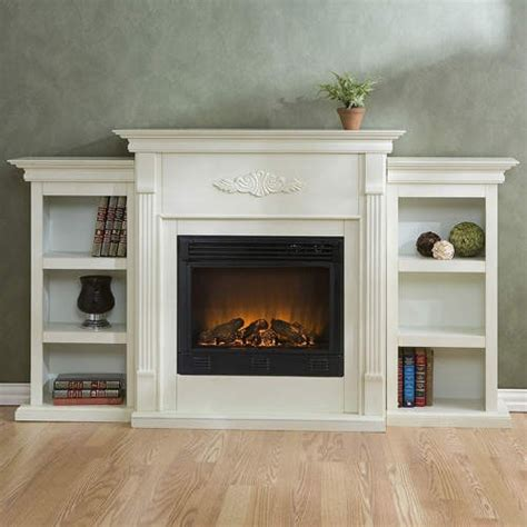 White Electric Fireplace W Bookshelves Remote Ebay Electric Fireplace With Bookshelves