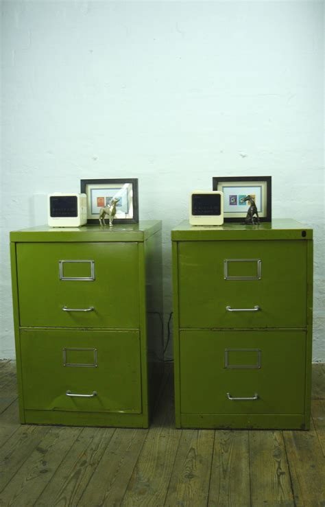 Pair Of Matching Vintage Pea Green Two Drawer Filing Cabinets