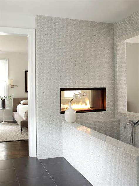 sided fireplace contemporary bathroom bhg