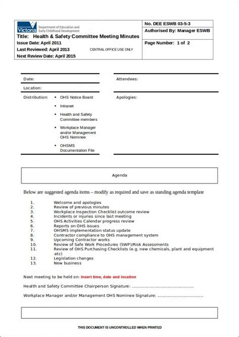 17 safety agenda sles templates free word pdf