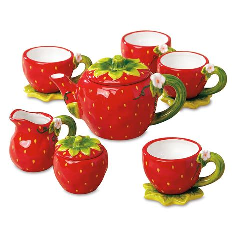 Set Strawberry strawberry tea set colorful images