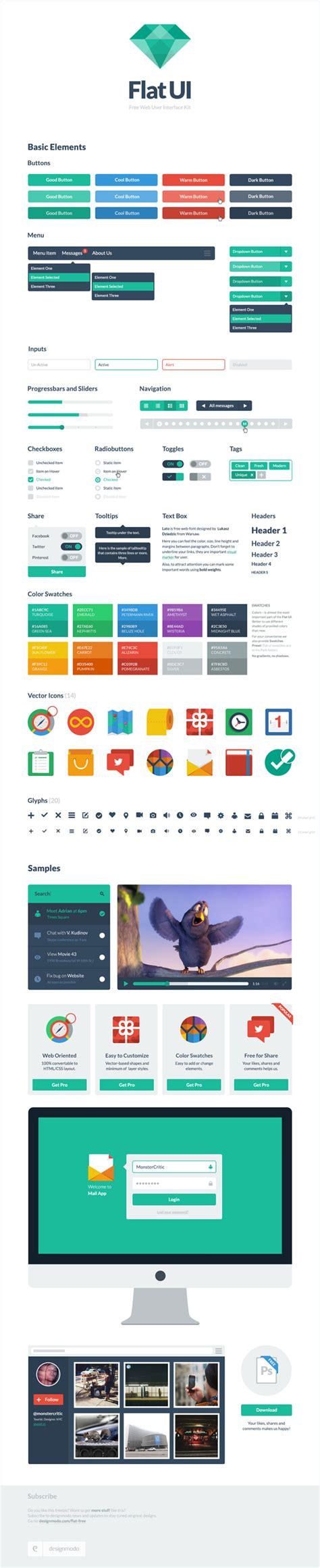 web layout ui kit flad design resources top 10 free flat ui design kits