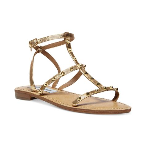 gold sandals steve madden steve madden womens greenie flat sandals in gold lyst