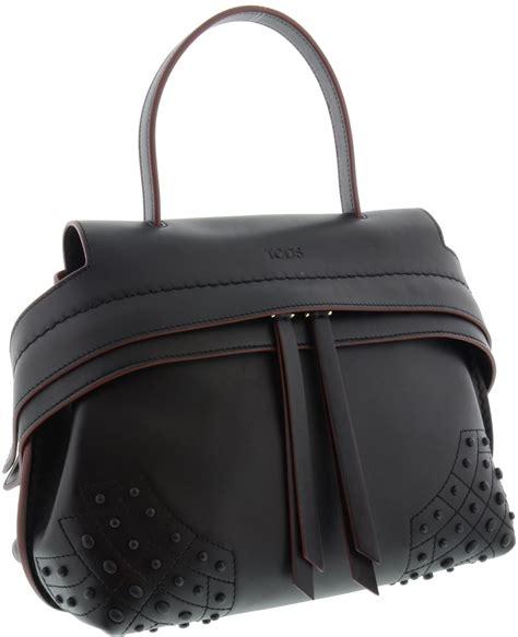 Tods Mini Wave Black Grained tod s borsa in pelle colore nero modello wave mini bag in black lyst
