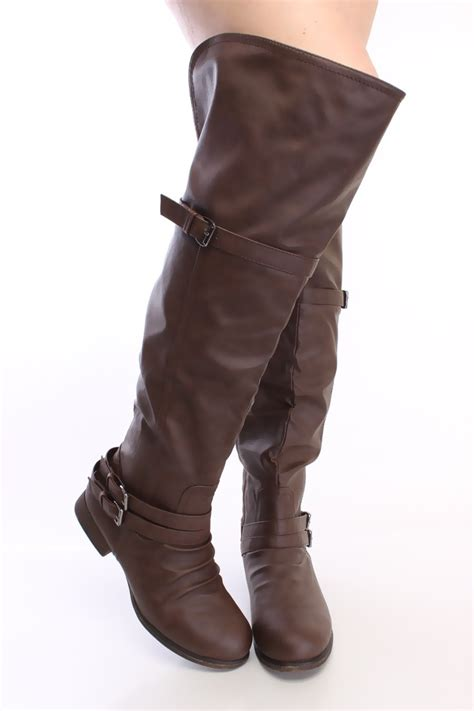brown thigh high flat boots faux leather