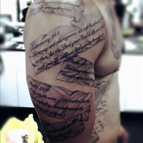 bible verse tattoo on shoulder blade scripture tattoos for men ideas and designs for guys