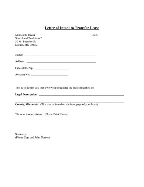 letter intent transfer lease templates